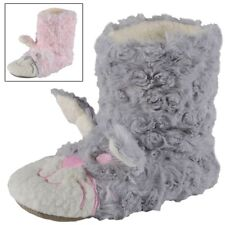 Fluffy Bunny Rabbit Plush Bootee Slipers For Girls Pink & Grey