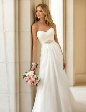 Stock Sexy Diamonds Chiffon A Line Sweetheart Beach Wedding Dress size 6-16