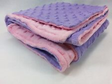 Handmade Minky Baby Blanket - Lavender and Pink