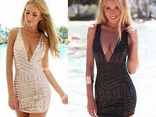 Women Deep V Neck Sequins Bodycon Clubwear Cocktail Evening Party Mini Dress