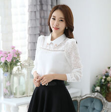 Graceful Womens Chiffon Doll Collar Tops Clothes Long Sleeve OL Shirt Blouses