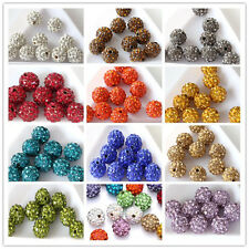 Hot Czech Crystal Rhinestones Pave Clay Round Disco Ball Spacer Bead 10mm/20Pcs