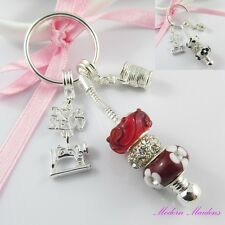 European Bead I Love to Sew Charm Keychain Key ring Select Colour