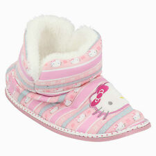 HELLO KITTY GIRLS PULL ON FAUX FUR LINED WARM WINTER BOOTIES SLIPPERS 320/3193