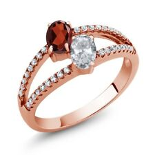 1.41 Ct Oval Red Garnet White Topaz Two Stone 18K Rose Gold Plated Silver Ring
