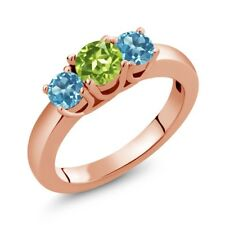 1.16 Ct Round Green Peridot Swiss Blue Topaz 18K Rose Gold Plated Silver Ring