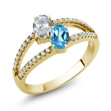 1.41 Ct White Topaz Blue Topaz Two Stone 18K Yellow Gold Plated Silver Ring