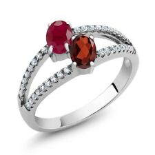 1.51 Ct Oval Red Ruby Red Garnet Two Stone 925 Sterling Silver Ring
