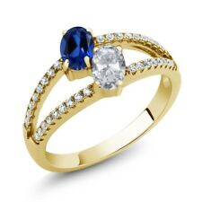1.41 Ct Simulated Sapphire White Topaz 18K Yellow Gold Plated Silver Ring