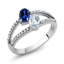 1.41 Ct Simulated Sapphire Sky Blue Topaz Two Stone 925 Sterling Silver Ring