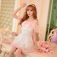 Summer Japanese Dew shoulder Sweet Lolita Chiffon Lace Princess Dress Bowknot