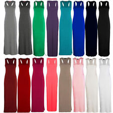Ladies Women Jersey Long Summer Vest Racer Muscle Back Maxi Dress Plus Size 8-26