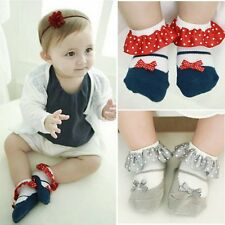 Ankle Socks Infant Baby Girl Ruffled Socks Lace Non-slip Cotton Socks Polka Dots