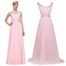 Pink  Women's Beading Evening dresses Prom Bridesmaids long Formal Pageant Dress