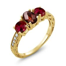 2.12 Ct Checkerboard Garnet Red Created Ruby 18K Yellow Gold Plated Silver Ring