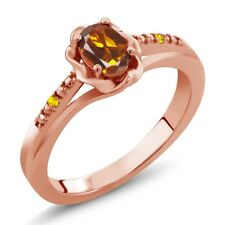 0.42 Ct Madeira Citrine and Yellow Sapphire 18K Rose Gold Plated Silver Ring