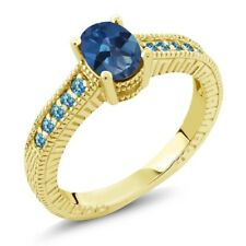 1.45 Ct Mystic Topaz Swiss Blue Topaz 18K Yellow Gold Plated Silver Ring