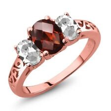 2.40 Ct Oval Checkerboard Garnet White Topaz 18K Rose Gold Plated Silver Ring