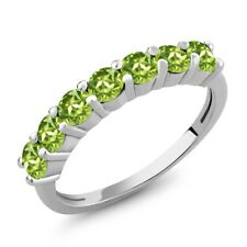 1.26 Ct Round Green Peridot 925 Sterling Silver Ring