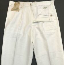 Caribbean Mens Linen Cotton White Pleat Front Casual Pants 32 34 36 38 40  NWT