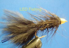 3 x CONEHEAD BLACK WOOLY BUGGER FLIES SIZE 10 BY AQUASTRONG (069)