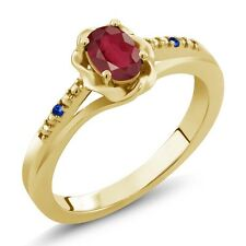 0.67 Ct Oval African Red Ruby Blue Sapphire 14K Yellow Gold Ring