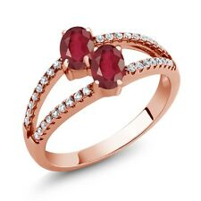 1.71 Ct Oval African Red Ruby Two Stone 18K Rose Gold Plated Silver Ring