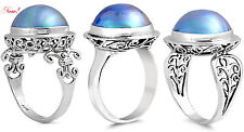 Sterling Silver 925 ROUND MABE PEARL CABOCHON BLUE GREY DESIGN RINGS SIZES 5-10