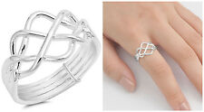 Sterling Silver 925 INTERLOCKING PUZZLE BAND DESIGN RINGS 12MM SIZES 5-13