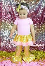 Plain Pink Bodysuit Gold Bling Sequins Girls Baby Dress Trousers Outfit NB-18M
