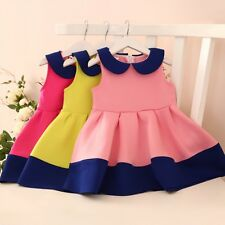 Girls Sleeveless Pleated Skirt Toddler Child Tutu Party Dress Fit For 3-7Y Baby