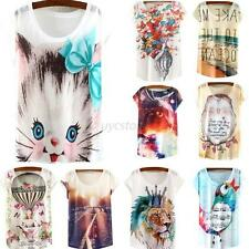 Womens Summer Casual Short Sleeve Loose T Shirt Cotton Blouse Tops