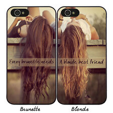 1 PCS BFF Best Friends Hard Phone Case for iPhone Brunette Blonde Girls Cover