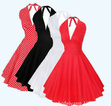 Vintage Hepburn 50's Rockabilly Halter Polkadot Pinup Cocktail Party Swing Dress