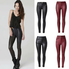 Womens Ladies Leather Look Wet Stretch Skinny Slim Leggings Trousers Size 6-16