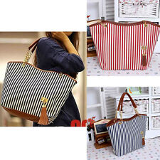 Womens Canvas plaid Handbags Girls Tote Satchel Beach Shoulder shopping Bags SL