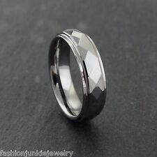 6mm Men's Faceted Beveled Cut Tungsten Carbide Wedding Band Ring NEW Sizes 8-13