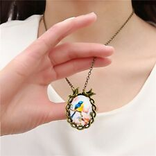 ADORABLE BIRD ARTS ANTIQUE BRONZE CABOCHON NECKLACE PENDANT CHAIN JEWELRY CHARM