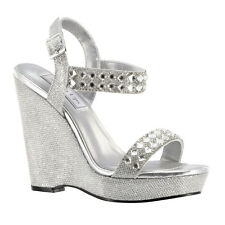 "Silver Rhinestone 4"" Wedge Formal Prom Bridal Bridesmaid Sandal Women's Shoes"