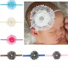 Girl Baby Leopard Elastic Headband Head wear Toddler Flower Rhinestone Hair Wear