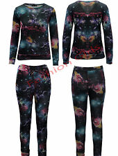 Womens Ladies Galaxy Space Swaetshirt Jogging Bottom Loungewear Tracksuit Set