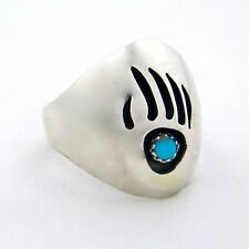 Sterling Silver Men's Turquoise Bear Paw Ring - Select Size --- R51 B