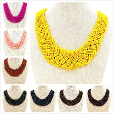 Ladies Fashion Jewellery Round Coloured Beaded Standout Strand Collar Necklace