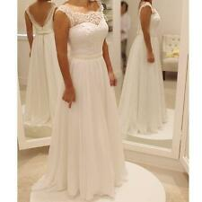 New Simple Elegant White/Ivory Bridal Gown Lace Wedding Dresses Custom Size