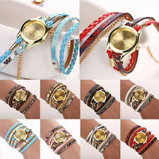 Hot Trendy Women's Leopard Wrap Braided Faux Leather Analog Bracelet Wrist Watch
