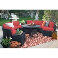 Patio Dining Set 5 Piece Wicker Sofa Sectional Round Table Outdoor All Weather