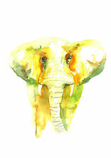 ELEPHANT ORIGINAL WATERCOLOUR PRINT NEW SIGNED POP ART ABSTRACT