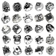1PC Punk Ring Various Styles Gothric Biker Rock Ring Stainless Steel Fashion