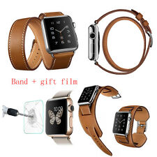 Cuff Genuine Leather Strap Cuff Bracelet Watch Band Strap For  iWatch series 1/2