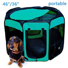"Tenive 46"" 36"" Soft Folding Pet Playpen Dog Exercise Pen Fence Cage Kennel Crate"